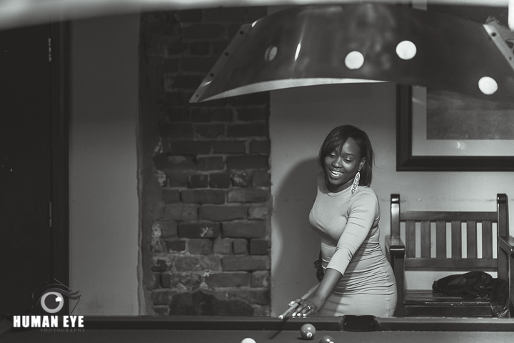 pool hall engagement session